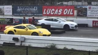 tesla Model S P85D vs Porsche 911 Turbo S vs Lamborghini Aventador race