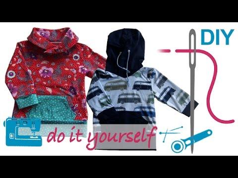 DIY Shirt nähen für Anfänger – Shirt mit Kapuze oder Schalkragen ...