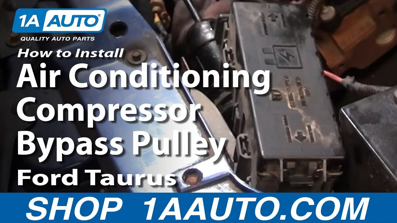 maxresdefault how to install replace air conditioning compressor bypass pulley 2002 Ford Taurus Ignition Diagram at soozxer.org