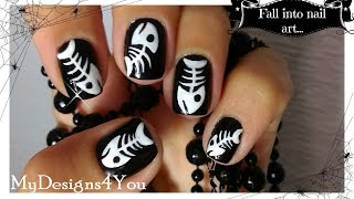 Halloween Nail Art For Short Nails | How To Fish Bones Tutorial  ♥ Дизайн Ногтей на Хэллоуин