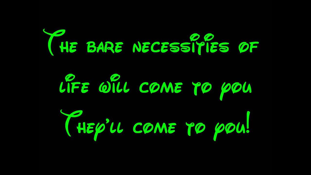 82d80b3f405 Bare Necessities - The Jungle Book Lyrics HD - YouTube