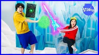 Ryan's House is FROZEN! Ryan's Mommy Battles Frozen Monsters!