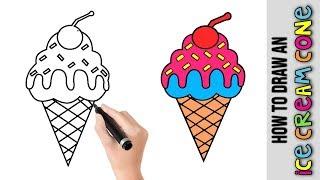 ice cream draw cone drawing easy simple step drawings beginners tutorials zeichnen dra tutorial kunst zeichnung fuer einfache schritt beginner