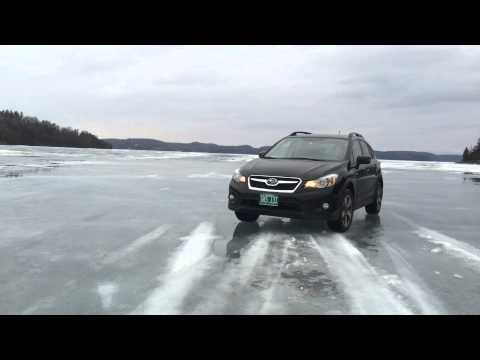 Driving on frozen lake Champlain