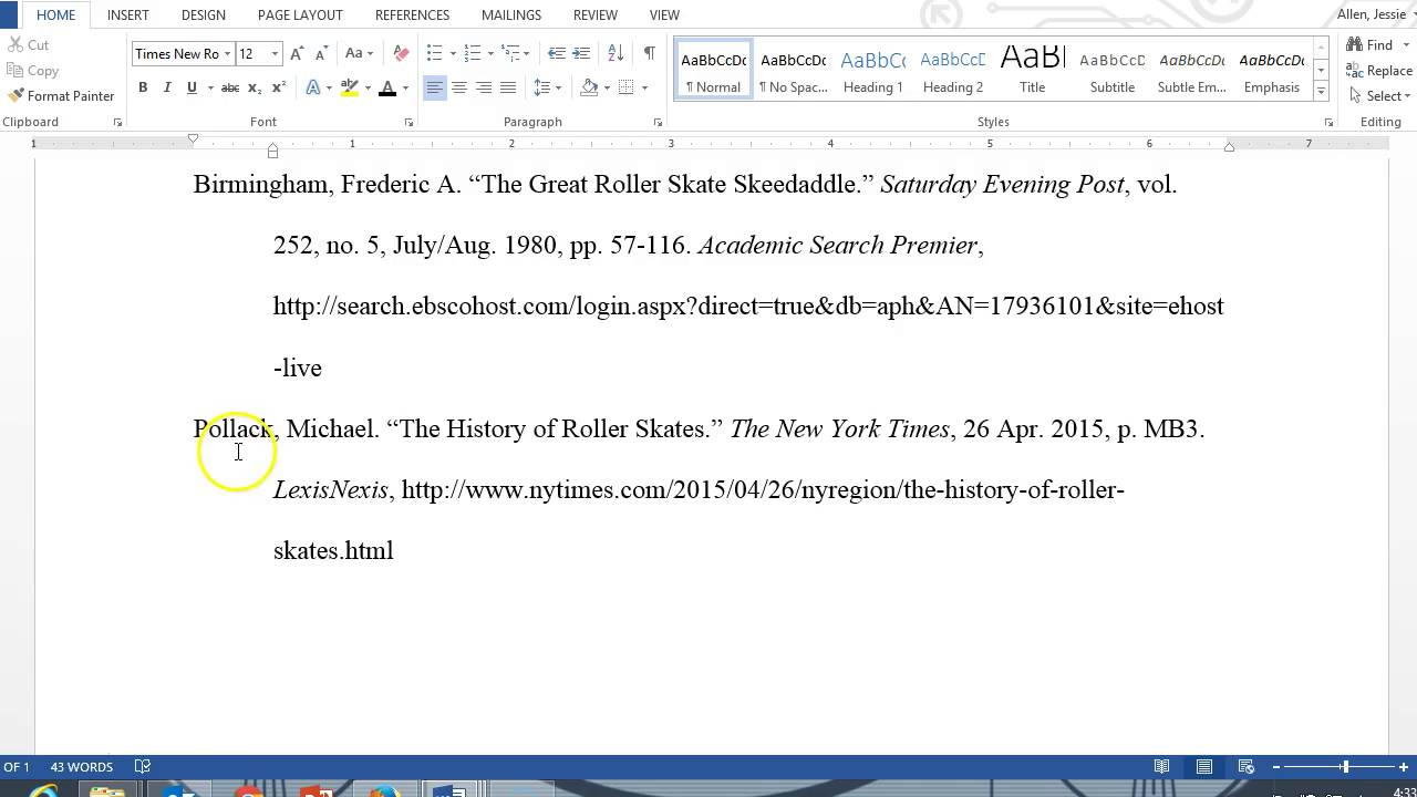 essay work cited