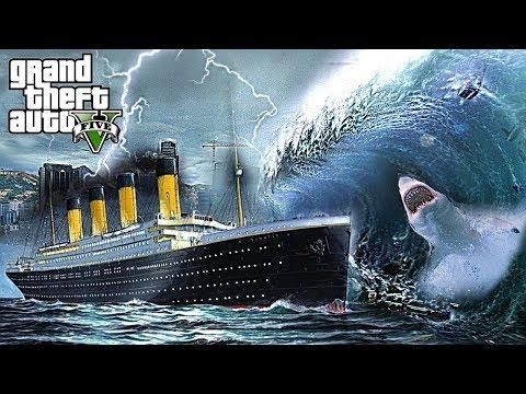 TSUNAMI HITS TITANIC + SHARKS !!! GTA V END OF LOS SANTOS MOD