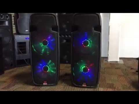 """Adkins Pro Audio Lighted Powered Dual 15"""" DJ Speaker - 3000 Watts"""