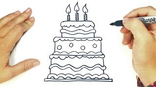 How to draw a Birthday Cake Step by Step | Birthday Cake Drawing Lesson