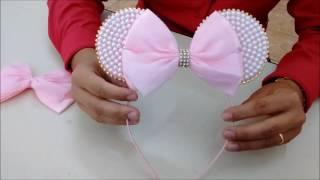 Tiara e faixa de bebê da Minie cor de rosa com pérola - DIY thumbnail