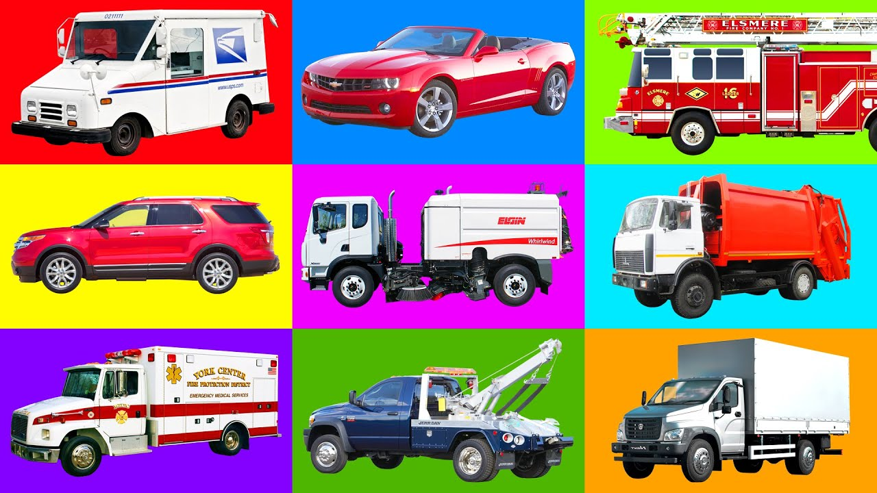 street vehicles names for kids cars and trucks fire truck ambulance tow truck garbage truck. Black Bedroom Furniture Sets. Home Design Ideas