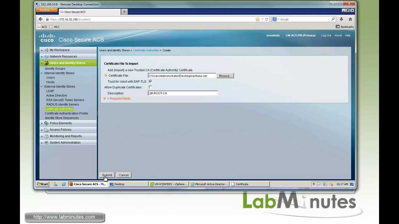 Labminutes Sec0083 Cisco Acs 54 Certificate Install Youtube