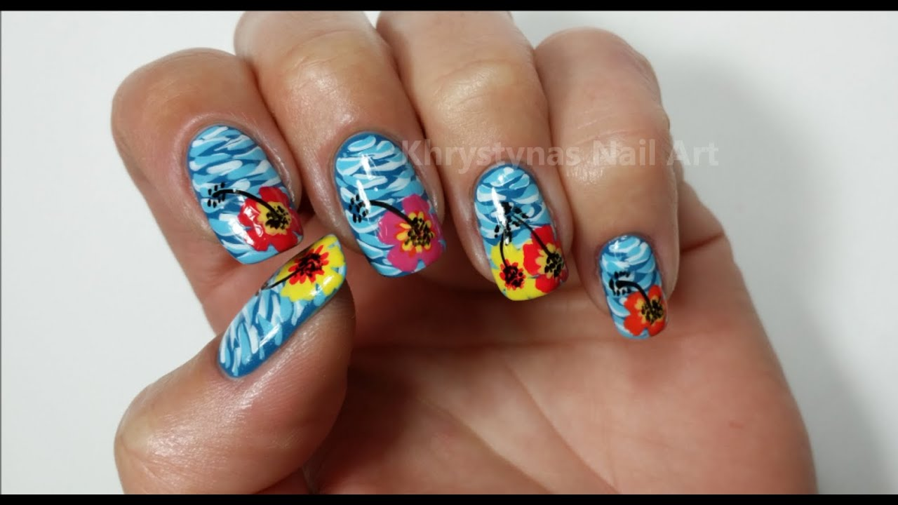 Hawaiian Flower Nails - Summer Nail Art Tutorial - YouTube
