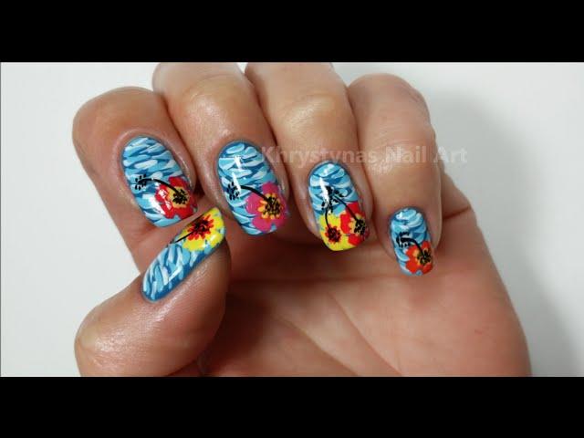 Nail art striped rainbow water marble hawaiian flower nail art prinsesfo Image collections