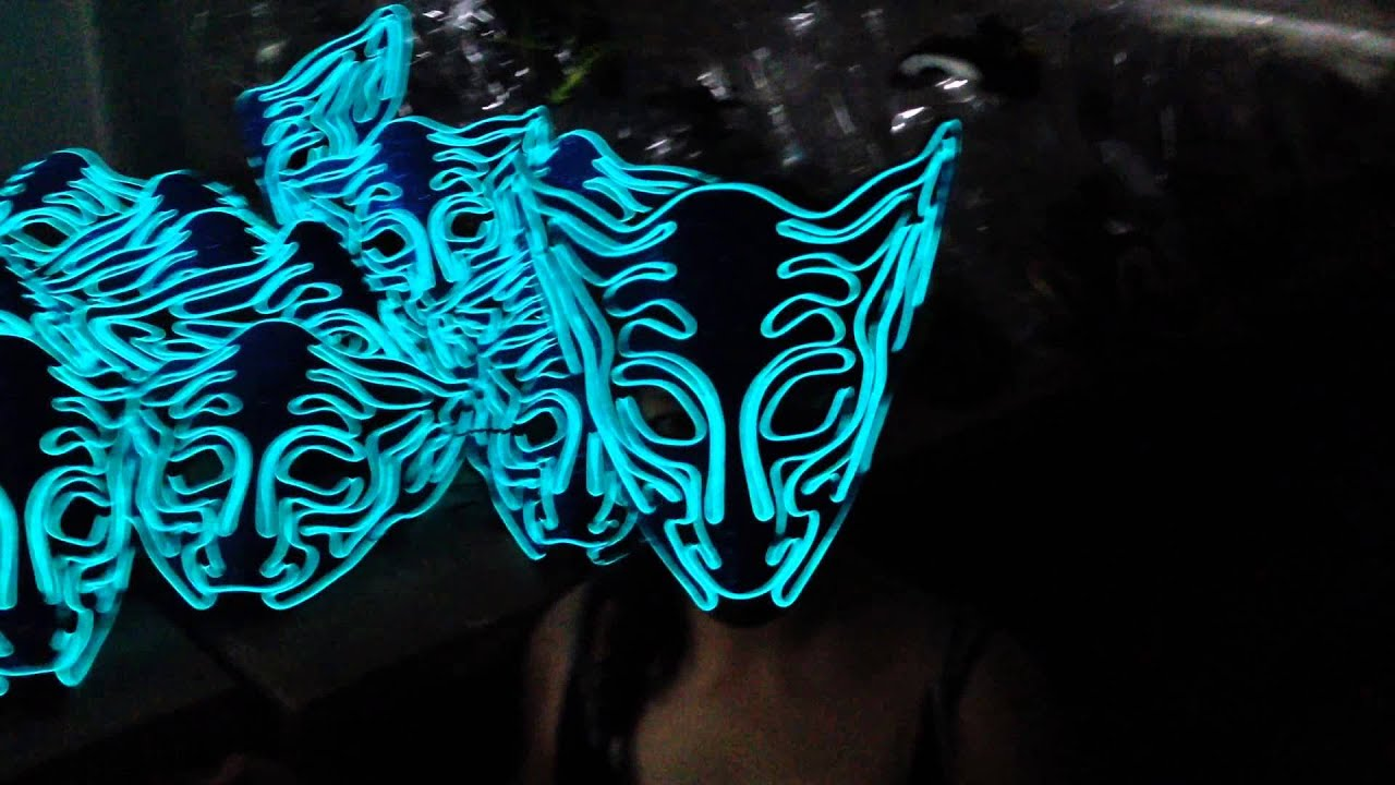 EL wire mask party mask light up mask - YouTube