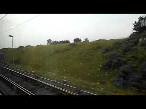 Eurostar train leaving Calais, France station