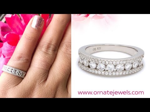 925 Silver American Diamond Band Ring Online Jewelry Store