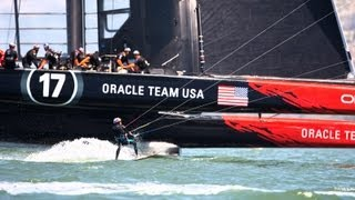 Kiteboarder vs. Catamaran: Kai Lenny Races Oracle Team USA