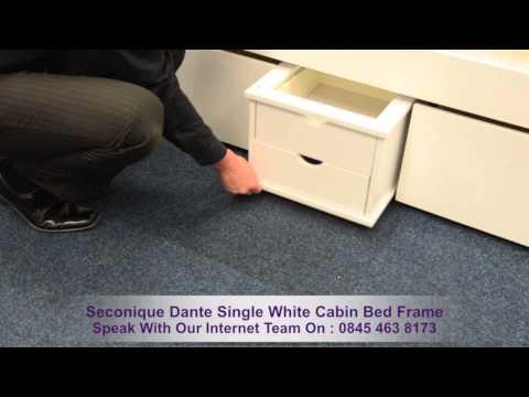 Seconique Dante Single White Cabin Bed Frame
