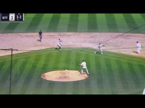 Collision at first base. Rickie Weeks vs Brett Gardner.