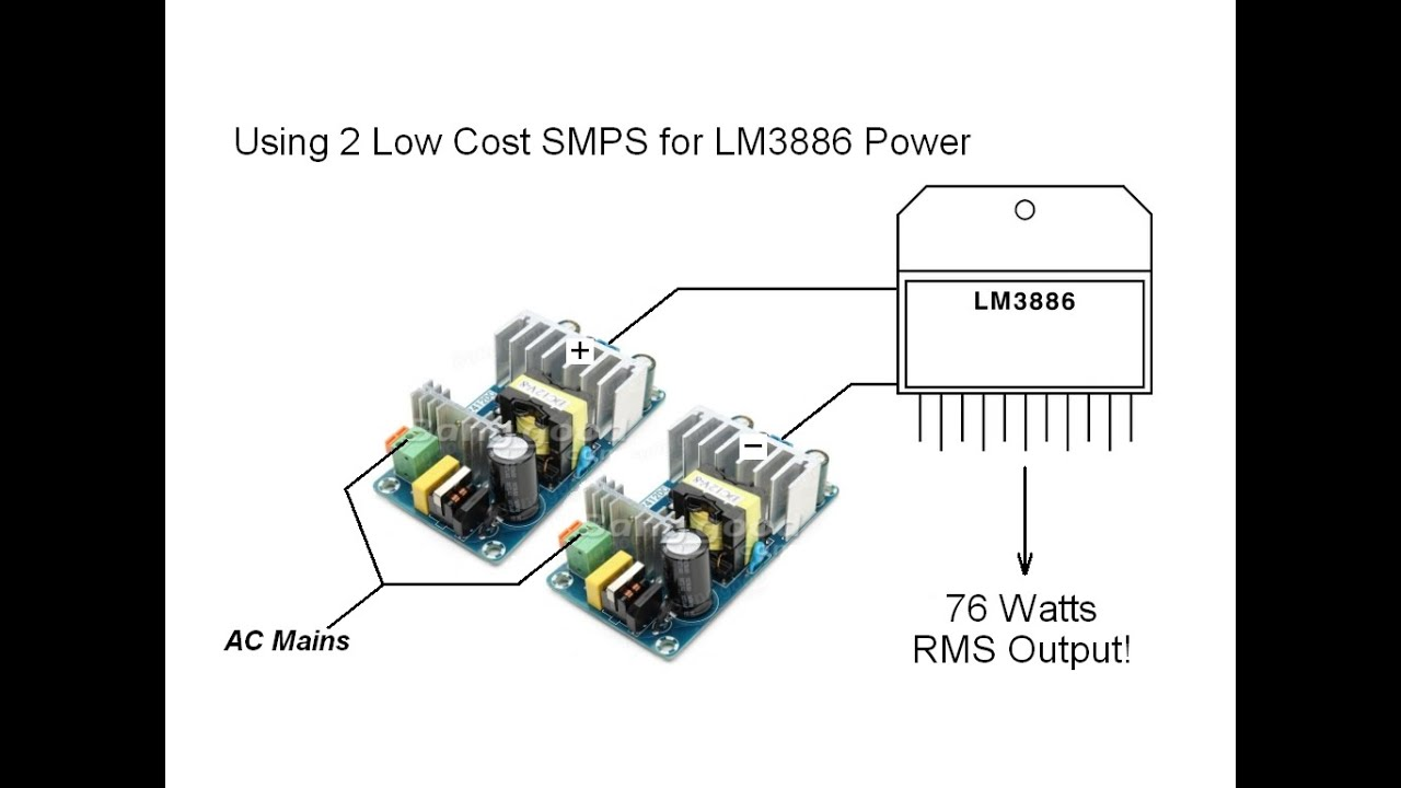 smps lm3886 amplifier project