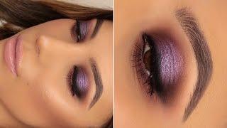 Purple HALO Smokey eye | Nude Lip