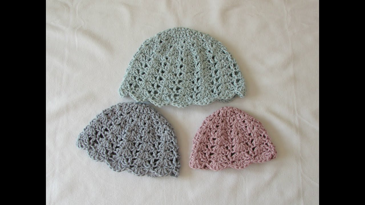 43db94cf6 How to crochet an easy shell stitch hat - all sizes (baby to adult)