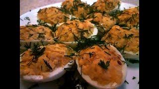 Фаршированные яйца с луком