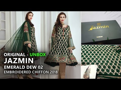 Jazmin Chiffon Collection 2018 - Unbox Emerald Dew 02 Pakistani Branded Clothes