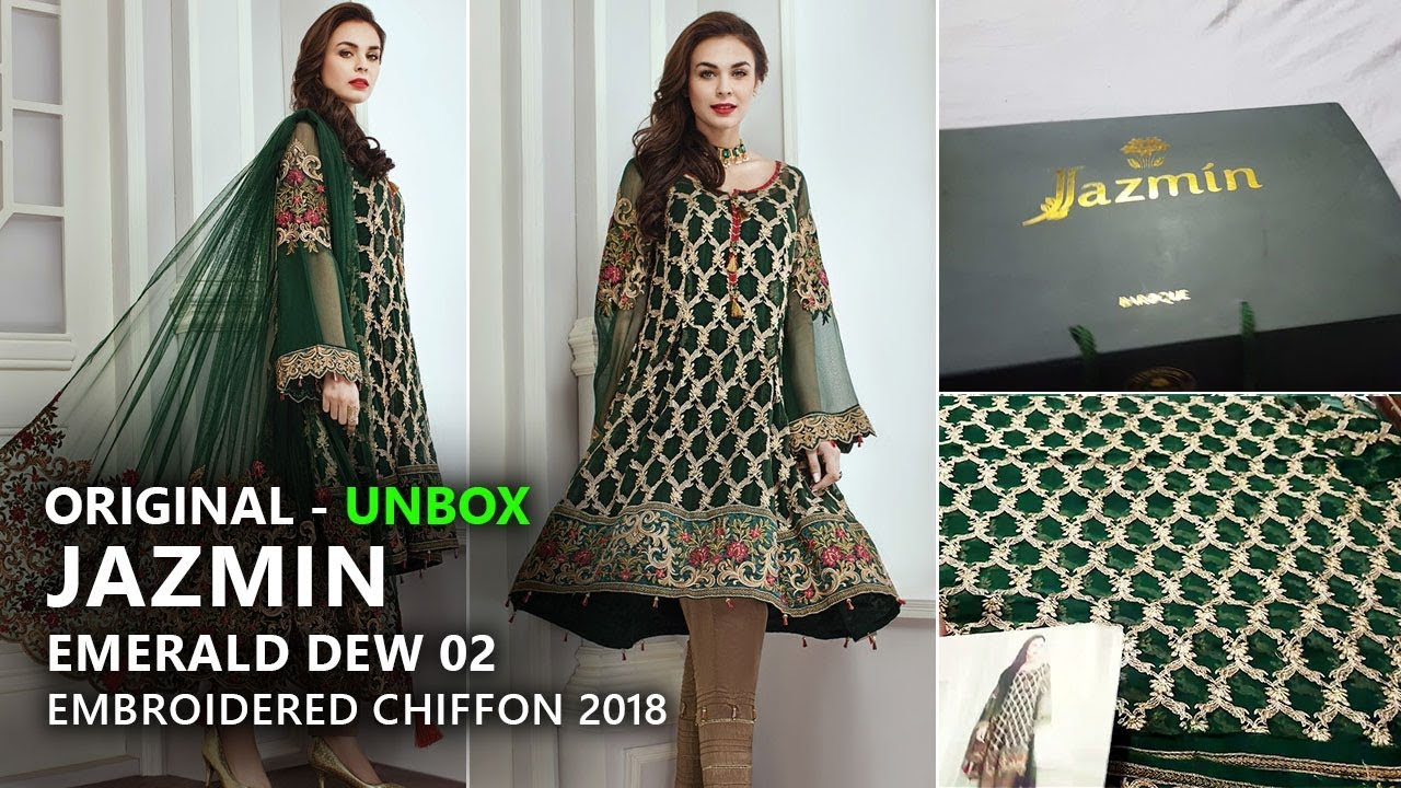 d6739cee73 Jazmin Chiffon Collection 2018 - Unbox Emerald Dew 02 Pakistani Branded  Clothes