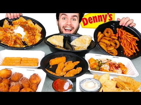 TRYING DENNY'S APPETIZERS MENU! - Nachos, Mozzarella Sticks, & MORE Restaurant Taste Test!
