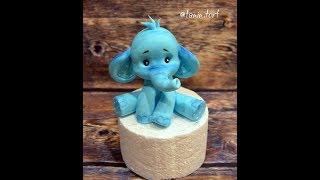 Слоник из мастики МК ( видео урок слон из мастики )( How to Make a Cute Elephant  fondant