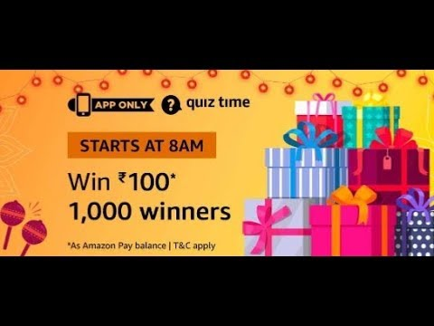 Amazon Quiz answers today| Win Rs.100|20 Oct 2018