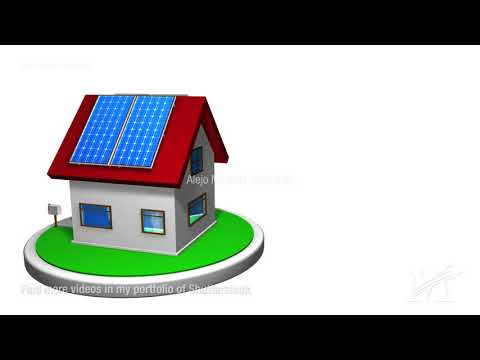 Small house with a solar energy system installed