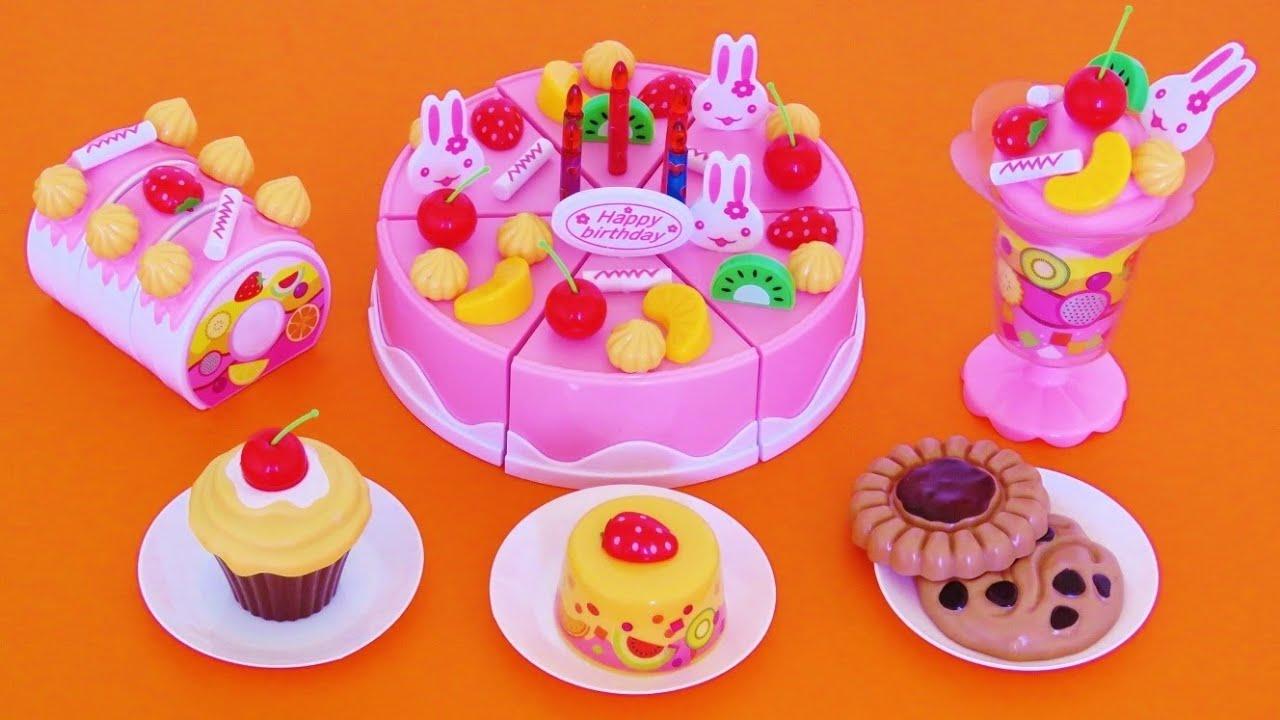 Toy Velcro Cutting Birthday Cake Playset Cupcake Fruit Shake