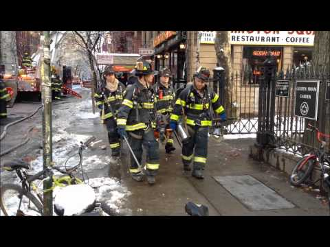 "FDNY BATTLES A ""ALL HANDS"" FIRE IN A LAUNDROMAT ON W. 4TH ST. & 6TH AVE. IN VILLAGE AREA OF NYC."