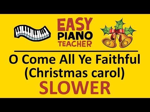 🎹 EASY piano: O Come All Ye Faithful (Christmas carol) keyboard tutorial SLOWER by #EPT thumbnail
