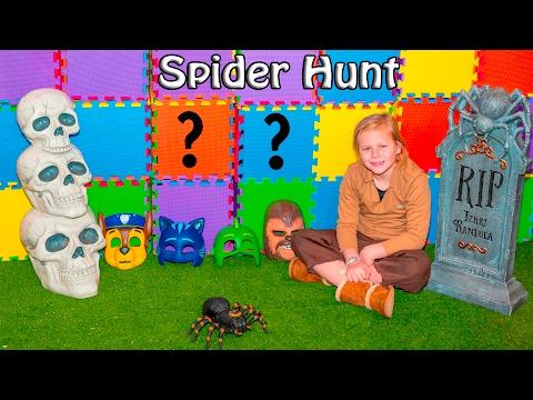 ASSISTANT Spider Hunt with Paw Patrol and PJ Masks Spooky Scavenger Hunt Video