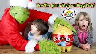 How the Grinch STOLE our Ryan ToysReview Golden Piggy Bank!