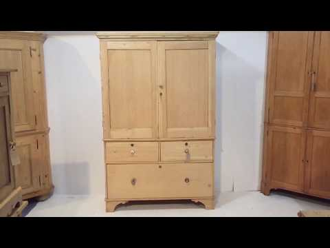 Victorian Pine Linen Press - Pinefinders Old Pine Furniture Warehouse