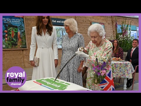 The Queen Uses Enormous Ceremonial Sword to Cut Royal Birthday Cake at Eden Project