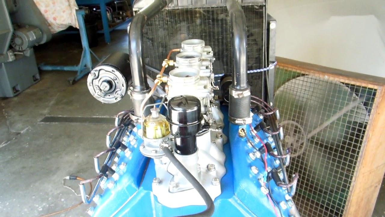 Ford Flathead 59AB Engine Running 3x2 Harman Collins Camshaft