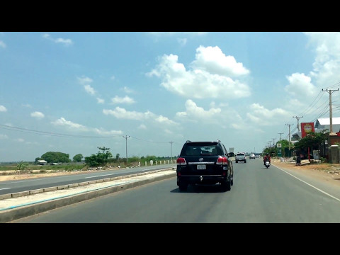 Travel Around Cambodia, Family Street Driving To Seim Reap Angkor On Weekend