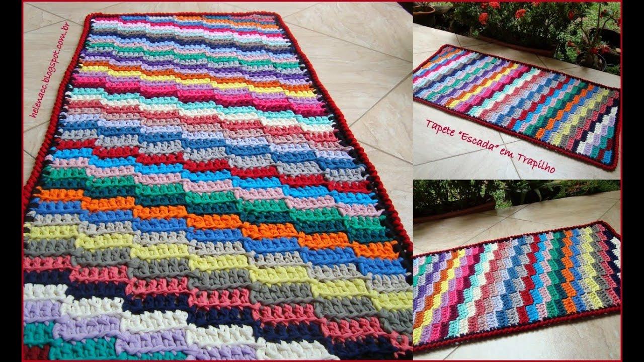 Цветной коврик крючком. Схема