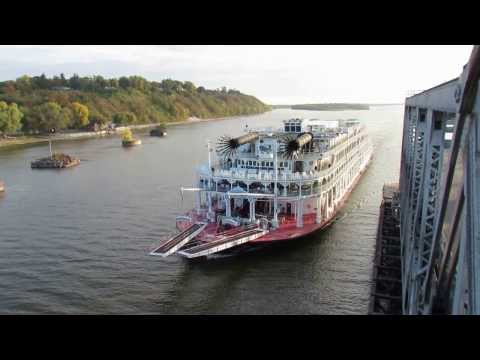 American Queen Riverboat Passing Throught The Fort Madison, IA Swing Bridge