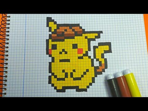 Como Dibujar A Detective Pikachu Pokemon Pixel Art Youtube