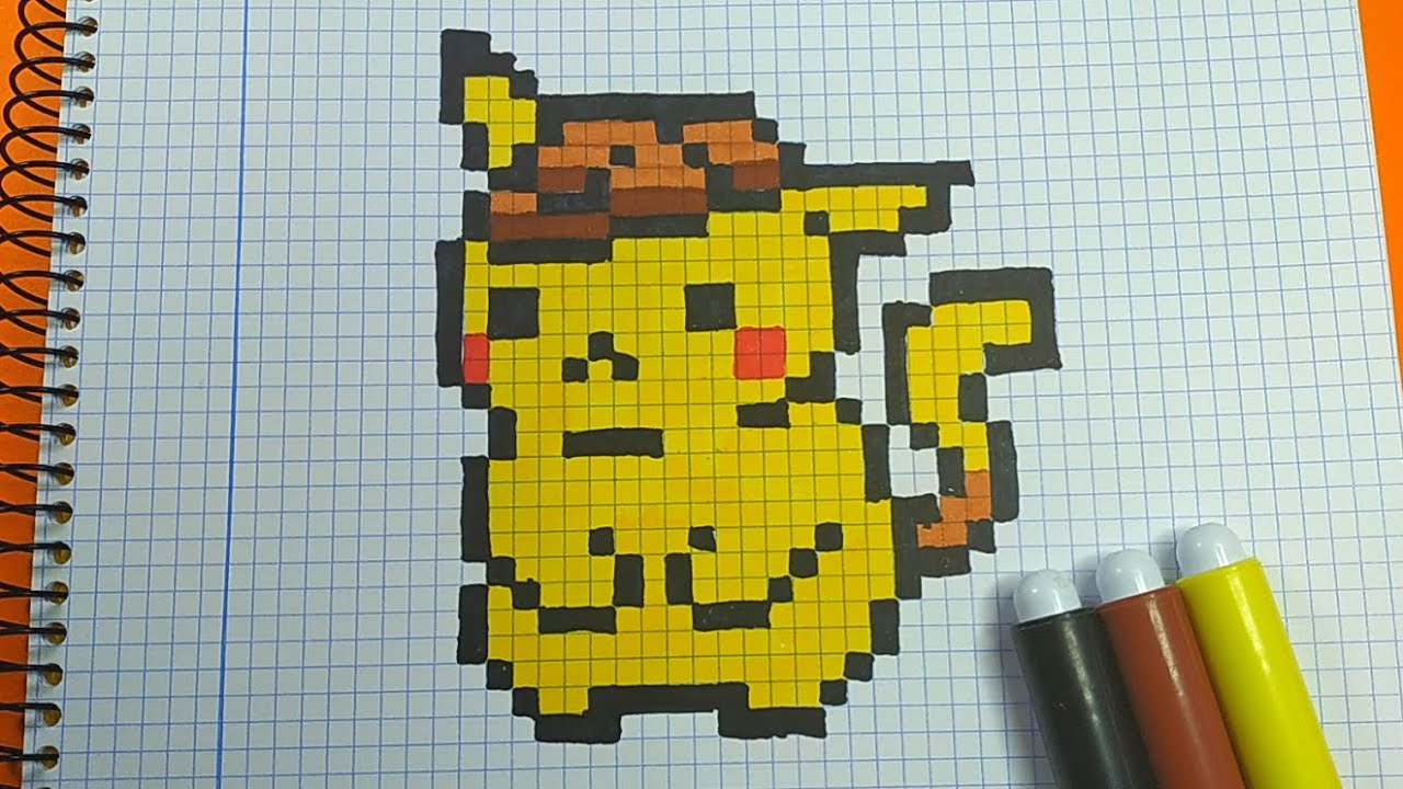 How To Draw Detective Pikachu Pixel Art Tutorial