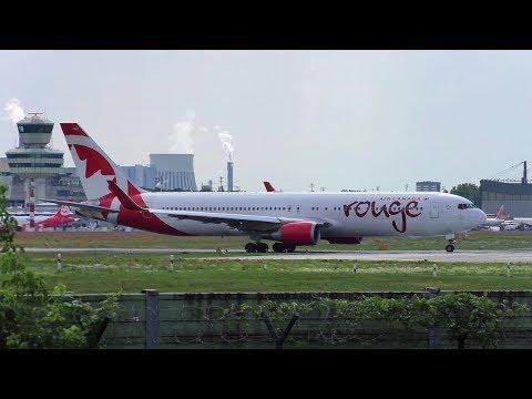 Air Canada Rouge Boeing 767-333(ER) C-GHLU AC1967 Taxiing + Takeoff at Berlin Tegel Airport