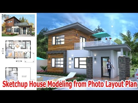 SKETCHUP MODEL HOUSE #03 -Drawing from photo layout plan