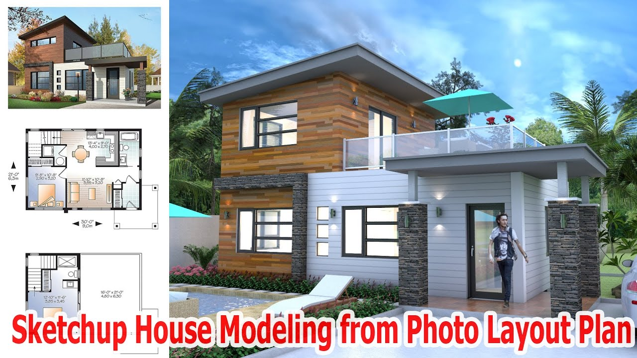 Sketchup house modeling from photo layout plan youtube for Layout design of house