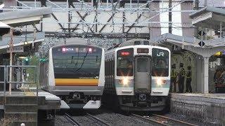【花火ダイヤ】中央線・下諏訪駅 列車走行シーン 2018年9月